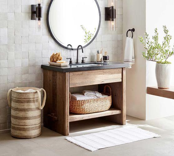 Striped Tassel Bath Mat Rustic Bathroom Vanities Bathroom Interior Bathrooms Remodel