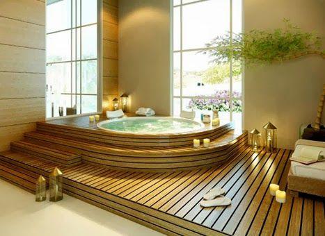 """Veja com o blog Casa Adorada e seu post """"Como criar um ambiente de spa em casa""""! Veja aqui - http://www.blogsdecor.com/casaadorada/como-criar-um-ambiente-de-spa-em-casa/ #decor #banheira #bathtube #relax #banheiro #bathroom"""