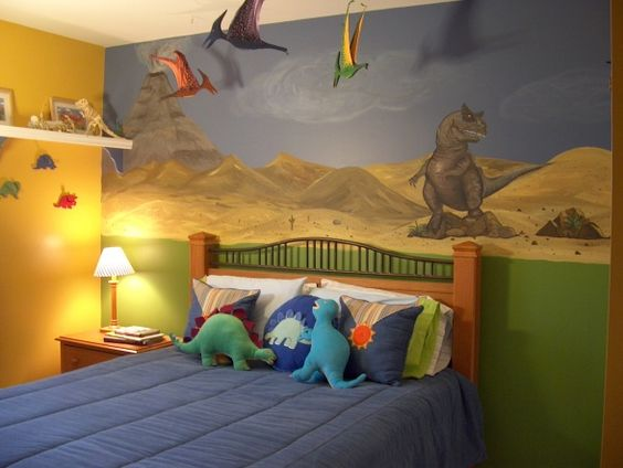 Boys murals and comforter on pinterest for Dinosaur pictures for kids room