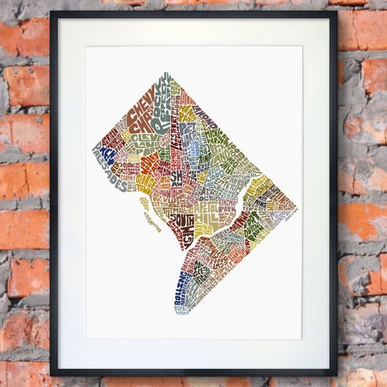 Washington DC typography map art print featuring its by joebstudio