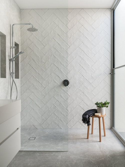 Gorgeous Step In Shower With Handmade Fire Clay Subway Tile Laid In A Herringbone Pattern Melissa L Subway Tile Showers Shower Tile Bathroom Interior Design