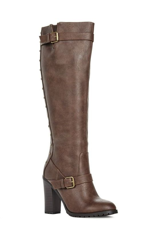 Get a leg up this season with Harahm. This block heeled boot features flat studs down the back, a back zip fastening and a baby lug sole.  Faux leather....