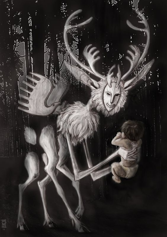Tariaksuq- Inuit myth: a shapeshifter that kidnaped children. It's natural form was that of a half caribou, half human creature. It resided in a place between the world of the living and the world of the dead. You could never see it directly because it always stayed in your peripheral vision