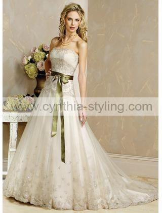lace wedding dress with olive green sash so cute d On wedding dress with green sash