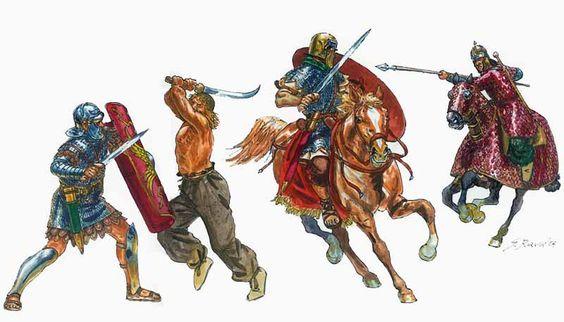 Riassunto dei duelli visibili in età traianea, a sinistra legionario contro un soldato dacio con falce, Dall'altro un cavaliere contro un cavaliere parto (persiano)