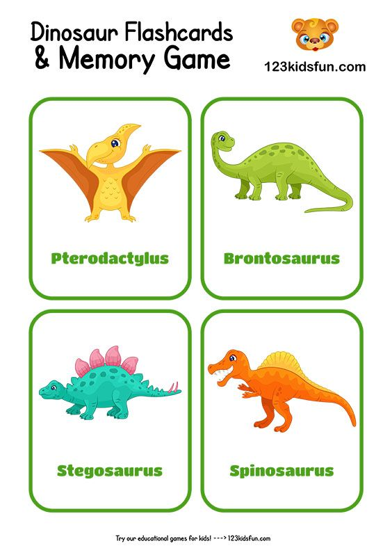 Free Printable Dinosaur Flashcards And Memory Game For Kids 123 Kids Fun Apps Memory Games For Kids Dinosaur Pictures Flashcards Preschool dinosaur activities free