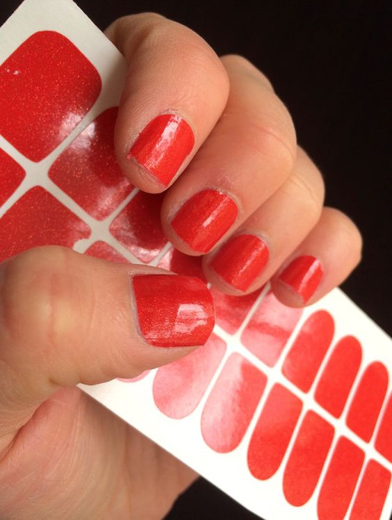 Red Glitter Nail Wrap, Just Like Jamberry! Great Color for Valentine's Day! Nail Polish, Manicure, Nail Ideas, Decals, Nail Wraps, Jamberry, Sparkle, Glitter
