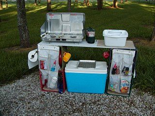 Quick easy camp kitchen 4 milk crates a board some shoe for Kitchen setup ideas