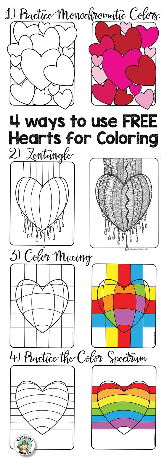 Op art uses color to create - Use The Free Hearts For Coloring As A Way To Color And Relax Make A Evy S Artop