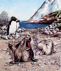 Chile 2000 Sheet Antartic Wildlife Penguins Sea Wolf
