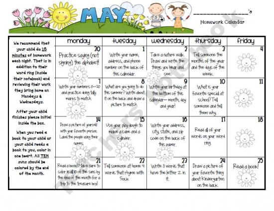 May Homework Calendar For Kindergarten  Homework Calendar