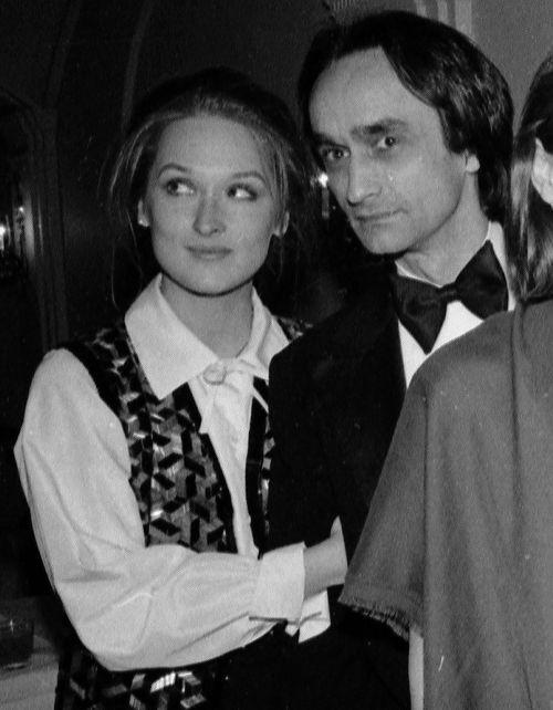 Meryl Streep and fiance John Cazale at Lee Strasberg's 75th birthday party ~ 1976