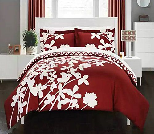3 Piece Reversible Bold Floral Print Duvet Cover Set King Size Featuring Chic Diamond Flower Leaf Duvet Cover Sets Floral Duvet Cover Reversible Duvet Covers