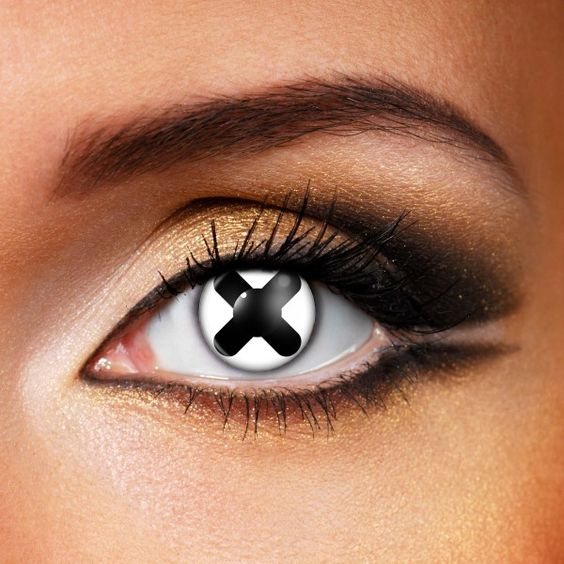 Stand out with our amazing  black cross contact lenses . These novelty contact lenses have a black cross on a white background that covers your natural eye colour, creating an awesome freaky look.    Contact Lenses  combine all-day comfort with unique contact lens designs. Each crazy contact lens is made of patented Hydrogel material, which is safe, comfortable and keeps your eyes hydrated all day long. Contacts look amazing and can be worn again and again.     Sold As A Pair   Lasts For 1…