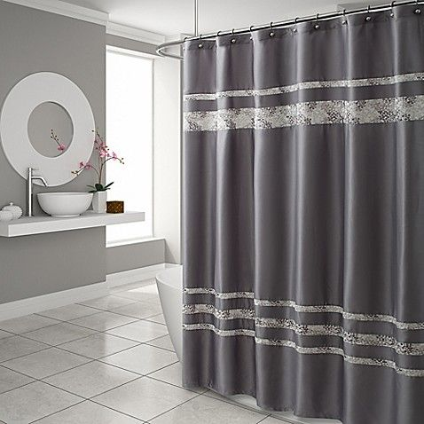 Croscill Spa Tile 72 Inch X 96 Inch Extra Long Shower Curtain In Grey Bathroom Window Treatments Stall Size Shower Curtain Long Shower Curtains