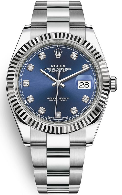 Rolex Datejust 41 Steel White Gold Diamond Blue Dial Oyster