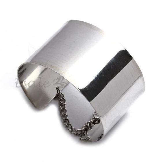 Bracelet Large Gourmette Manchette Chaîne Argent en Alliage Déco Femme 70x40mm - Achat / Vente bracelet - gourmette Bracelet Large Gourmette Ma... Femme Adulte - Cd