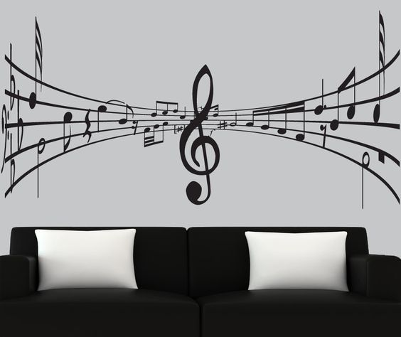 modern vinyl wall decal 3d music notes decal black music speaks wall decals wall decals wall stickers