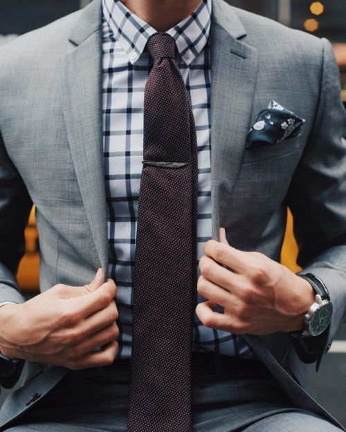 Black checks with dark chocolate colored tie