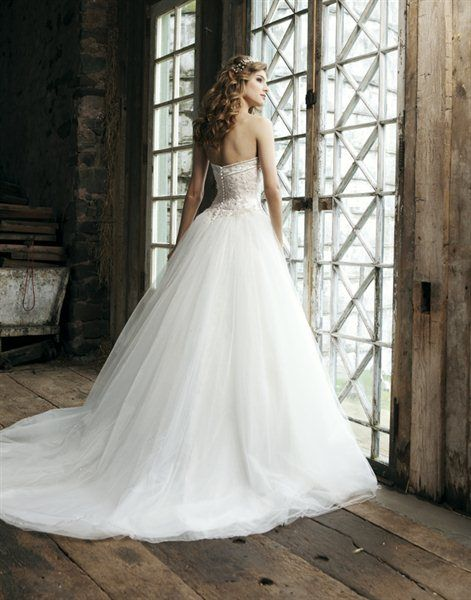 A-line Sweetheart Court Train White Tulle Wedding Dress WS1724