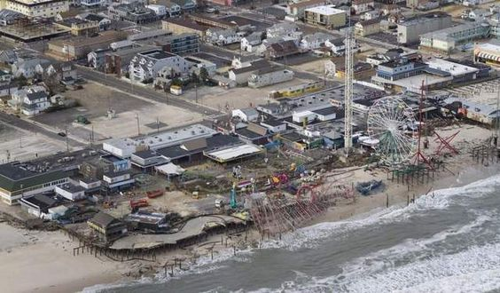 This Oct. 31 aerial view of the Seaside Heights boardwalk shows the aftermath of Hurricane Sandy.