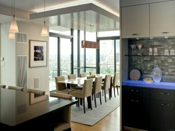 Esszimmer gestalten abgehängte Decke Teppich Küche LED Küche - led panel küche