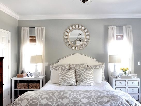 Delightful Master Bedroom Blue With White Furniture And Bedding