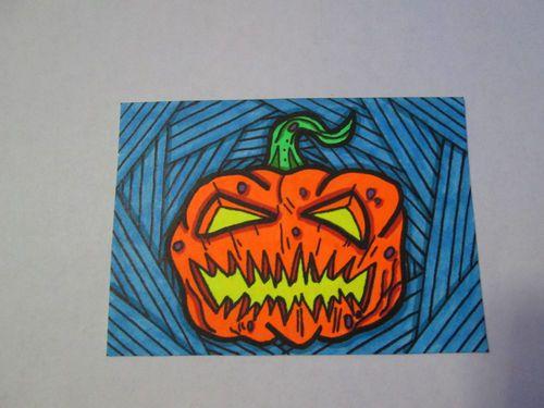"""Halloween31 ACEO Original """"Jack O Lantern"""" Fluorescent Pumpkin Horror Art Card"""