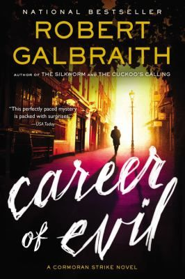Career of Evil. (Robert Galbraith)  When a mysterious package is delivered to Robin Ellacott, she is horrified to discover that it contains a woman's severed leg. Her boss, private detective Cormoran Strike, is less surprised but no less alarmed. There are four people from his past who he thinks could be responsible--and Strike knows that any one of them is capable of sustained and unspeakable brutality. With the police focusing on the one suspect, he and Robin take matters into their own…