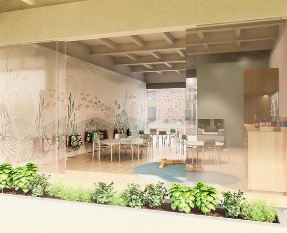 Sala De Aula Infantil Horta Para Crianças Projeto Criativo Integração Exterior E Interior Cores Neutras Ambiente Escolar Home Home Decor Room Divider