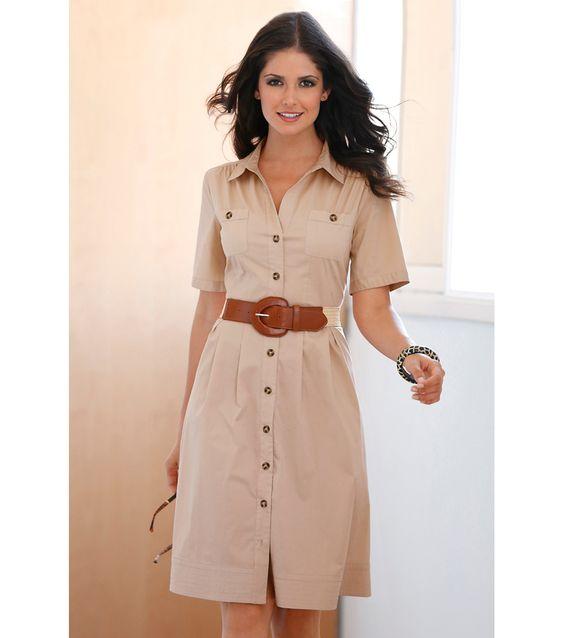 Vestido estilo camisa mulher manga curta Mulher 17 Venca: