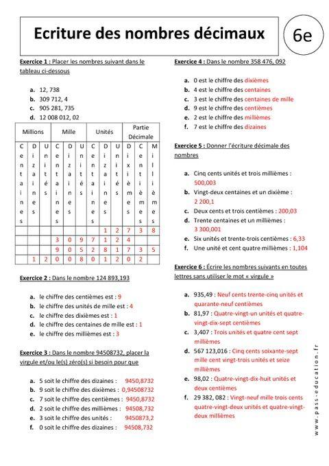 Comparer Les Nombres Decimaux 6eme Exercices Avec Les Nombres Decimaux Decimale Exercice