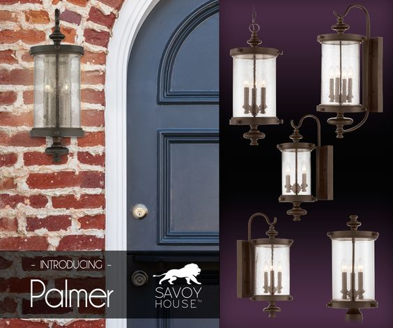 New from Savoy House, the Palmer outdoor collection makes your home stand out with  clear seeded glass shades that create drama and a walnut patina finish that adds boldness.