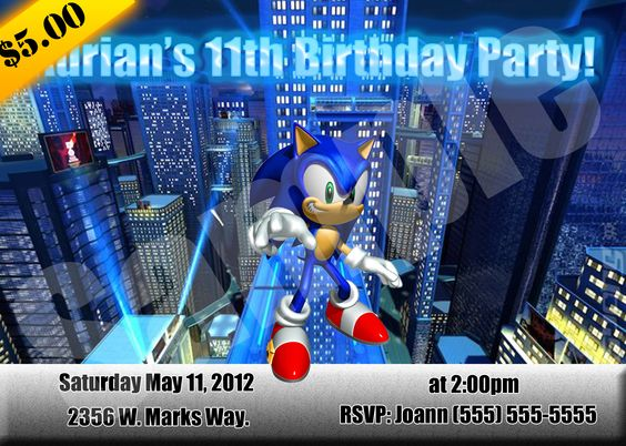sonic hedgehog sonic the hedgehog playstation ps3 ps2 ps – Sonic Birthday Invitations
