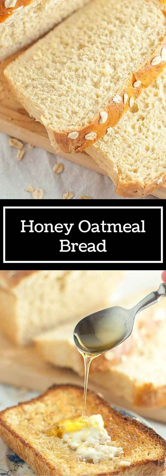 This Honey Oatmeal Bread recipe is an all-time favorite! It's light, airy, a touch sweet, and has a spongy crumb. It is an absolute perfect bread recipe! http://www.mamagourmand.com