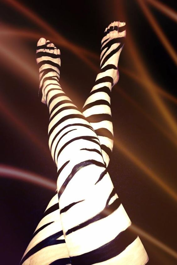 Zebra body paint