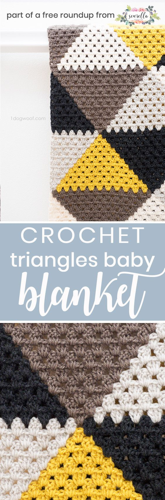 Get the free crochet pattern for this love triangles baby blanket from One Dog Woof featured in my gender neutral baby blanket FREE pattern roundup!