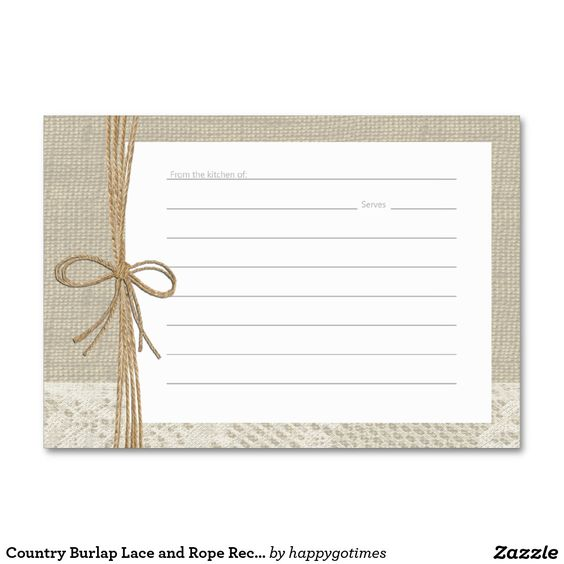 Country Burlap Lace and Rope Recipe Cards