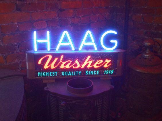 HAAG washers neon sign