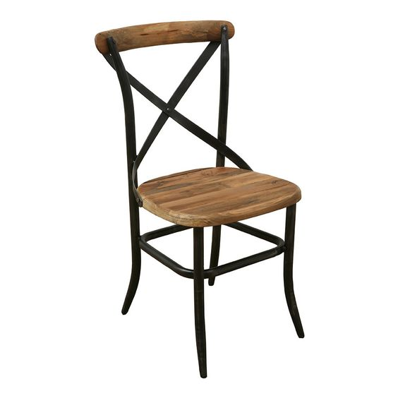 Rustic Wooden Seated Bistro Chair With Dark Black Metal Crossed Frame Which I