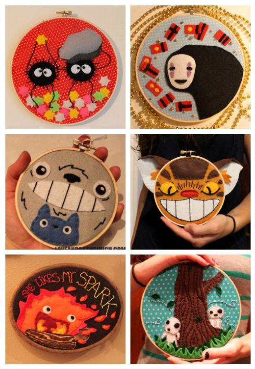 Studio Ghibli embroidery hoops. Soot Sprites, No-Face, Totoro, Catbus, Calcifer, and Kodamas!
