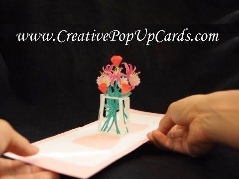 Flower Bouquet Pop Up Card Template Creative Pop Up Cards Pop Up Cards Pop Up Card Templates Card Template