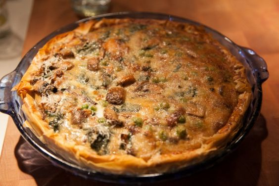 Spinach and Mushroom Pie with Phyllo Dough Crust