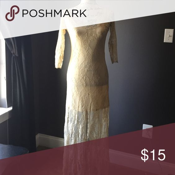 TAN LACE DRESS Nude slip with a sheer lace dress. Two slits in the side of the leg. Some loose elastic. Such a beatitude piece ! Just have no use for it. Quarter sleeve. Dresses Maxi