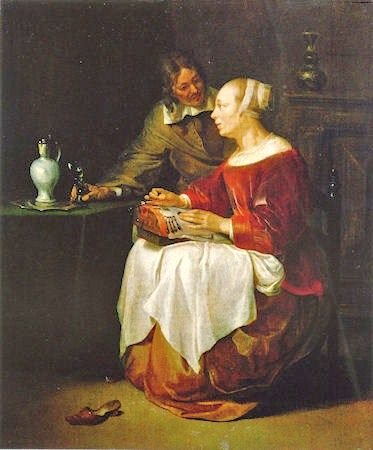 Gabriel Metsu (Dutch painter, 1629-1667) The Lacemaker