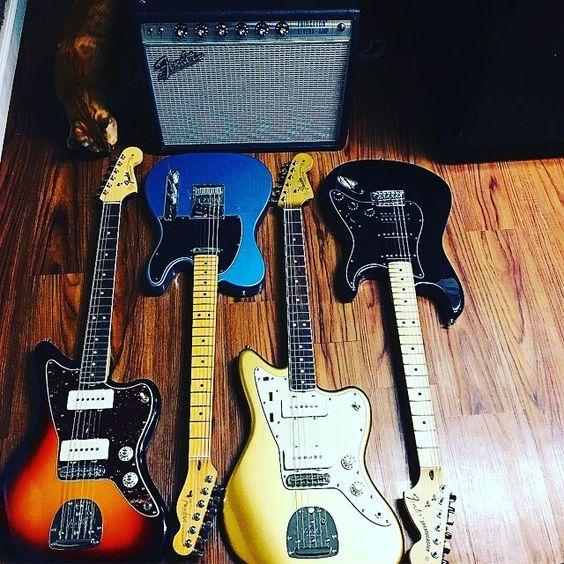 Nice Fender collection @matthew_joseph_music!  #Stringjoy #Geartalk #Guitarist #GearNerds #GuitarPlayer #GearWire #KnowYourTone #GuitarGear #Guitar   Create your custom string set today at Stringjoy.com #guitar #guitars #electric #acoustic #bassguitar