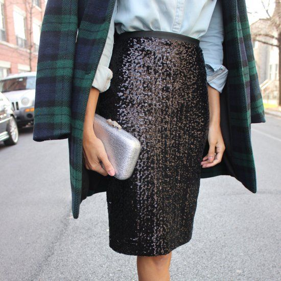 Some holiday inspiration mixing sequins & plaid with a bold lip!