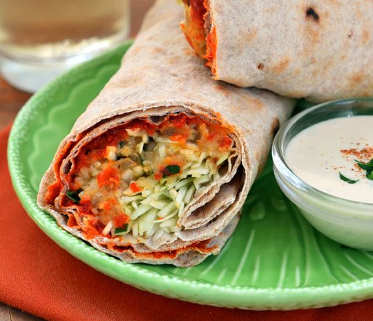 spicy lentil wraps with tahini