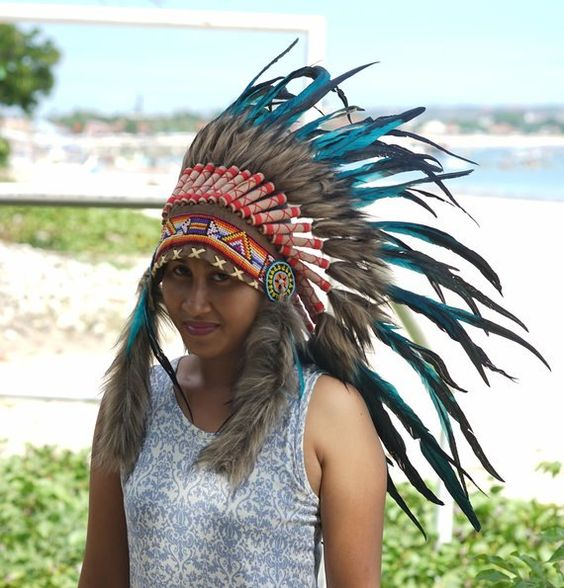 Small Hand Made Indian Headdress Feathers, Native American Warbonnet Real Leather and Feathers