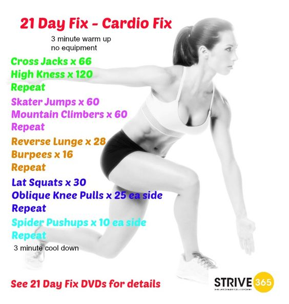 21 DayFix - Cardio Fix.  For other healthy ideas follow STRIVE 365 on Facebook: https://www.facebook.com/strive.365.wellness or check out our website at www.strive-365.com